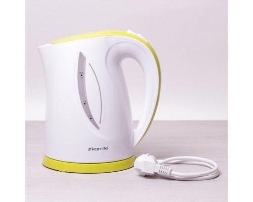 Чайник Kamille объем 1,7 литра, электрический, пластик белый с салатовым КМ-1717A
