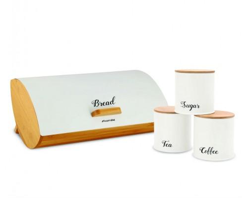 Хлебница с емкостями для хранения 36,5 х 25 х 13 см Белая Kamille KM-1118