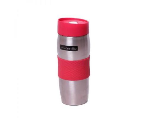 Термокружка 380 мл Kamille из нержавеющей стали TPR-накладка серебристый / красный КМ-2053 PM