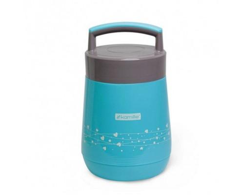 Термос пищевой Kamille 1400 мл пластиковый со стеклянной колбой и 2 емкостями голубой КМ-2022 PM