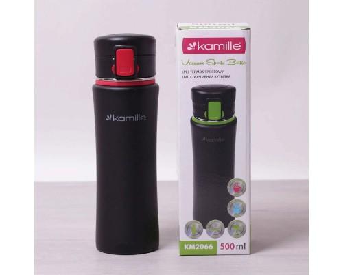 Термос-бутылка Kamille 500 мл спортивная из нержавеющей стали черный / красный КМ-2066 PM