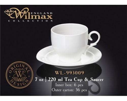 Чашка чайная 220 мл WILMAX с блюдцем 993009 WIL