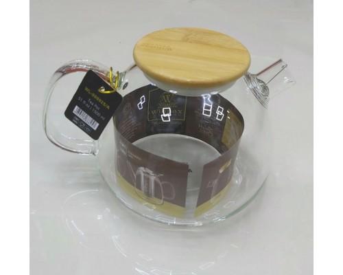 Чайник-заварник Wilmax Thermo 1500 мл с фильтром-спираль и бамбуковой крышкой 888825/A WL PM