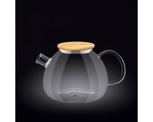 Чайник-заварник Wilmax Thermo 1200 мл с фильтром-спираль и бамбуковой крышкой 888824 / A WL PM