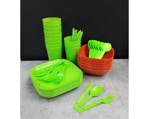 Набор пластиковой посуды для пикника Полимербыт на 12 персон 999-12 ПБ