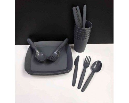Набор пластиковой посуды для пикника Irak Plastik 32 предмета Тёмно-серый SP-180