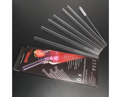 Набор стеклянных трубочек для напитков Simax со щеткой 6+1 предмет 23 см (40231/6)