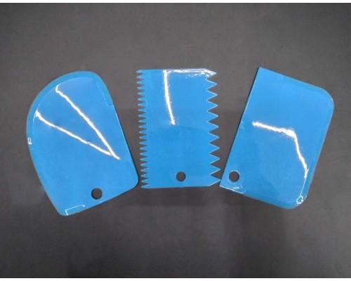 Набор кондитерских шпателей скребков A-Plus 3 шт 8675 голубой