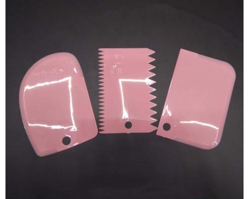 Набор кондитерских шпателей скребков A-Plus 3 шт 8675 розовый