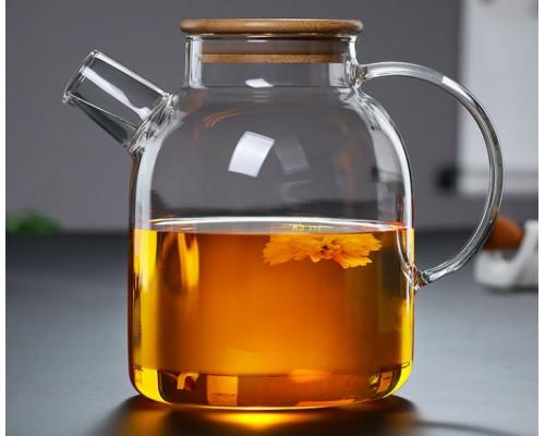 Заварочный чайник Bona Lorenza 1.5 л с бамбуковой крышкой BD-599-104