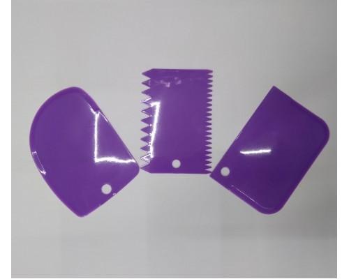 Набор кондитерских шпателей скребков A-Plus 3 шт 8675 Фиолетовый