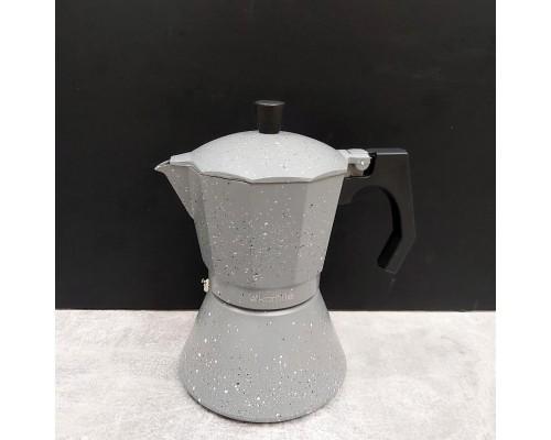 Кофеварка гейзерная Kamille 300 мл (6 порции) алюминиевая с широким индукционным дном КМ-2517GR
