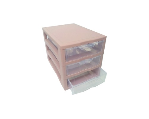 "Комод-мини пластиковый 3 яруса 20 Х 19 Х 27 см ""Алеана"" розовый 127014"