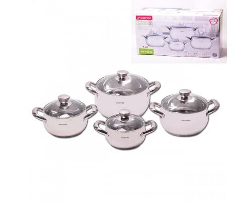 Набор посуду Kamille 4019S 8 предметов (2.1 литра, 2.9 литра, 4.1 литра, 6.7 литра)
