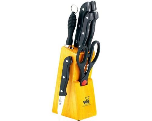Набор ножей Wellberg 280 из 7 предметов, черная пластиковая ручка.