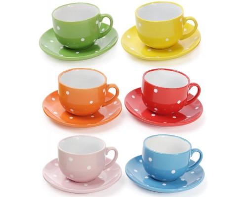 Чайный набор BonaDi Белый горох 6 чашек 250 мл и 6 блюдец Керамика 344-071