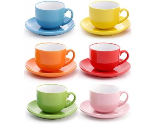 Чайный набор BonaDi Яркий микс 6 чашек 250 мл с блюдцами 344-098