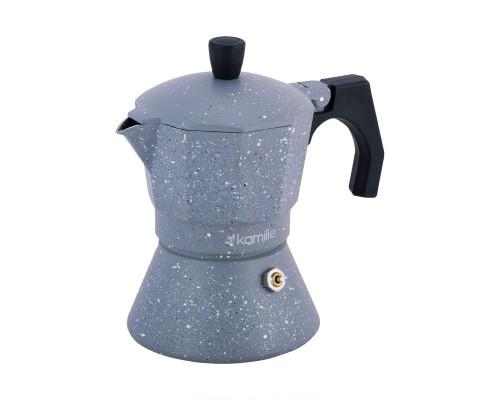 Кофеварка Kamille гейзерная 150мл (3 порции) из алюминия с широким индукционным дном KM-2516GR