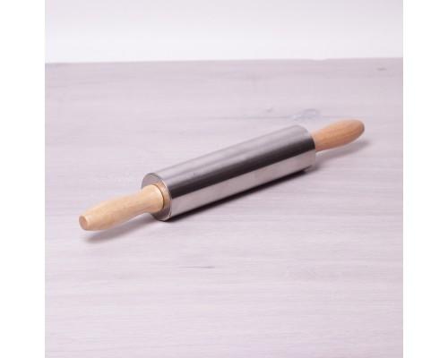 Скалка Kamille 5х38см с вращающимся валиком из нержавеющей стали и деревянными ручками KM-7777