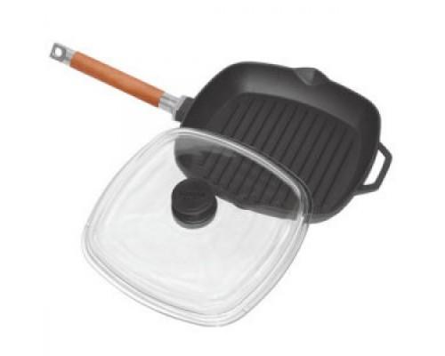 Сковорода-гриль Биол со съемной ручкой и крышкой 28 см БЛ 1028С